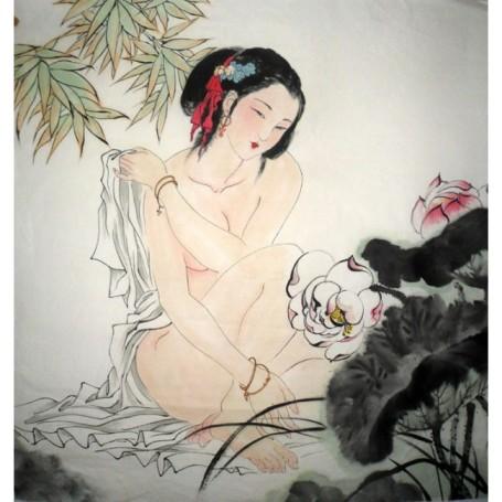 chinese_beautiful_lady_painting_lotus_flower-6